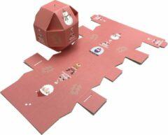 """Presentdoosjes.nl Presentdoosje """"Kerstbal doosje roze"""" : 9,5 x 9,5 x 9,5cm (10 stuks)"""