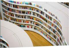 Blauwe KuijsFotoprint Dibond - Boekenkast in Bibliotheek - 150x100cm Foto op Aluminium (Met Ophangsysteem)