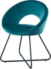 Eetkamerstoel - met armleuning - Groen - Velvet Stoel - Isabella - merk Troon Collectie - Comfortabel - Eetkamer stoelen - Extra stoelen voor huiskamer - Dineerstoelen – Tafelstoelen