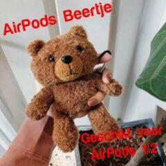 AirPods 1/2 Case Teddy Beertje   Beschermhoes voor AirPods 1/2   AirPods Hoesje Teddy Beer Donkerbruin   Smartphonica