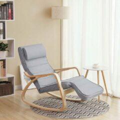 Acaza Schommelstoel Met Voetensteun in Zweedse Stijl - Verstelbare Ligstoel – Relaxing Chair – Katoen – Grijs