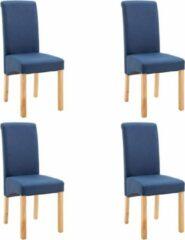 Merkloos / Sans marque Eettafel stoelen Stof Blauw 4 STUKS / Eetkamer stoelen / Extra stoelen voor huiskamer / Dineerstoelen / Tafelstoelen / Barstoelen / Huiskamer stoelen/ Tafelstoelen / Barstoelen