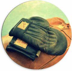 Bruine KuijsFotoprint Dibond Wandcirkel - Ouderwetse Handschoenen met Boksbal - 60x60cm Foto op Aluminium Wandcirkel (met ophangsysteem)
