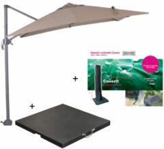 Garden Impressions Hawaii zweefparasol S 250x250 - donker grijs/taupe met 60 kg parasolvoet en parasolhoes
