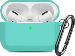 YONO Airpods Pro Case - Siliconen Hoesje met Clip - Turquoise