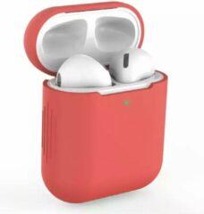 Geen merknaam Siliconen Bescherm Hoesje Cover voor Apple AirPods Case - Airpods Hoesje Siliconen Case Rood (Red)