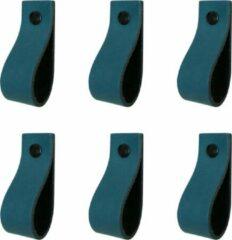 Handles and more Leren handgrepen / Lus - 6 Stuks - PETROL - maat S (15,8 x 2,5 cm) - incl. 3 kleuren schroefjes