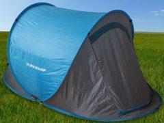 Blauwe Dunlop Pop-up Tent - 2 persoons - 255 x 155 x 95 cm - Blauw