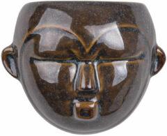 Donkerbruine Pt, (Present Time) Mask - Wand bloempot - keramiek - 18,1x14,5x7,8cm - bruin