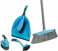 Blauwe Merkloos / Sans marque Schoonmaakset 6 delig - Bezem met steel - blik met handborstel - handschrobber- afwasborstel