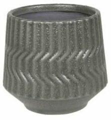 Donkergrijze D&M Deco Pot Notable Dark Grey ronde bloempot voor binnen 14x12 cm grijs