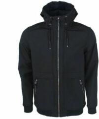 Zwarte MZ72 heren softshell jas fleece gevoerd model loftshell