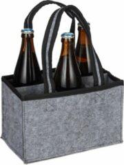Grijze Relaxdays flessentas vilt - 6 flessen - flessendrager - biertas - handtas voor flessen antraciet