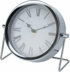 Merkloos / Sans marque Zilveren tafelklok met romeinse cijfers 16 x 7 cm - Woondecoratie/accessoires - Kantoorbenodigdheden - Klokken - Staande klokken - Tafelklokken