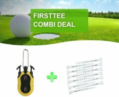 Gele Firsttee - COMBI DEAL - EXTRA VOORDEEL - Scoreteller + 25 Tees met Maatstreepjes - 83 MM - Houten Tees - Driver - Golfclubs - Golf sport - Training - Slagenteller – Golf accessoires - Cadeau - Golftrainingsmateriaal - Swing - Golfset - Counter