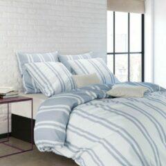 Mistral Home - Dekbedovertrek - 100% katoen - 200x200+2x65x65 cm - Met flessenhals - Blauw, wit, gestreept