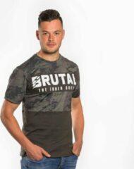 Groene Loud and Clear BRUTAL T Shirt Heren Camouflage - Camouflage Shirt - Ronde Hals - Korte Mouw - Met Print - Met Opdruk - Maat S