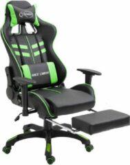 Merkloos / Sans marque Gamestoel (INCL leer reinigingdoekjes) Groen met Voetensteun - Gaming Stoel - Gaming Chair - Bureaustoel racing - Racestoel - Bureau stoel gamen