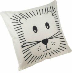 Beige QUVIO Kussensloop leeuw / Kinderkamer / Kussensloop 45x45cm - Crème en zwart