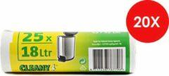 Cleany Pedaalemmerzakjes - 18 L - Wit - 25/Rol x 20 (500 stuks) - voordeelverpakking