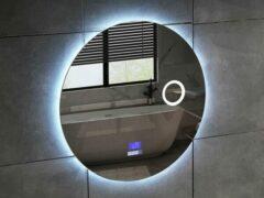Mawialux LED Spiegel - 100cm - Rond - Verwarming - Digitale Klok - Bluetooth - ML-100NMR
