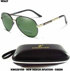 Wialy KingSeven - New Design Aviation groen - Aluminium piloten zonnebril met gepolariseerde UV400 glazen - Z93
