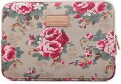Kayond – Laptop Sleeve met bloemen tot 13-13.3 inch – Beige/Roze/Donkergroen