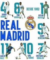 Real Madrid CF Real Madrid Muursticker 16 Spelers En Logo 2 Stickervellen