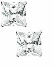 Zilveren Quickjewels huiscollectie Tomylo oorknoppen vierkant 7mm