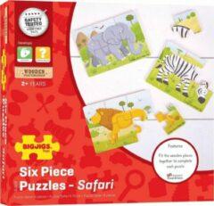 Bigjigs Toys Bigjigs puzzel safari (BJ818)- 3 puzzels met ieder 6 stukjes