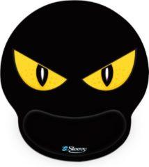 Zwarte Muismat polssteun gele ogen - Sleevy - mousepad - Collectie 100+ designs