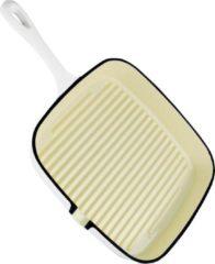 Daumonet gietijzeren grillpan - Steakpan - Vierkant met schenktuit - 23,5 cm - 2 liter - Emaille - Gebroken wit - Geschikt voor alle warmtebronnen - Elektrisch - Gas - Halogeen - Inductie - Keramisch - Vaatwasserbestendig - DAU-CISG-WHITE-24