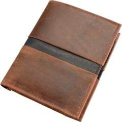 Alassio by Jüscha Alassio portemonnee - combi bruin leer - opbergvak paspoort 12x10cm.