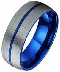 Tom Jaxon Wolfraam heren ring Groef Geborsteld Zilverkleurig Blauw-22mm