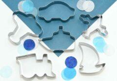 ZZOET Voertuigen koekjes uitstekers - grote set - 6 stuks - koekvorm - uitstekers