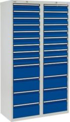 Stumpf Metall Stumpf® STS 410 Schubladenschrank mit 26 Schubladen, lichtgrau / blau - 180 x 100 x 50 cm