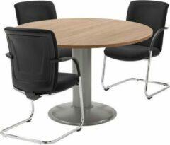 Trendybywave Ronde tafel - vergadertafel - voor kantoor - 120 cm rond - blad bruin eiken - wit onderstel - eenvoudig zelf te monteren