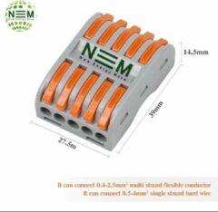 New Energy Move Verbindingsklem duo 5/5 polig grijs/oranje 0,08 t/m 4mm2 kabel 32A 600V 27,5mmx29mmx14,5mm 10 stuks