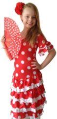 Spaansejurk NL Spaanse jurk - Flamenco - Deluxe - rood wit - maat 140/146 (12) - Verkleedkleding