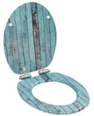 Blauwe 5 days Toiletbril met soft-close deksel MDF oud hout print
