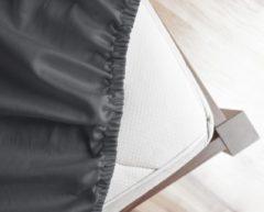 Antraciet-grijze Primaviera Deluxe Satijnen - Topper Hoeslaken - 140 x 200 - Antraciet