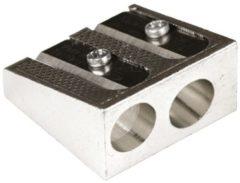 Zilveren Merkloos / Sans marque Magnesium puntenslijper dubbel - Schrijfpotlood/Kleurpotlodenslijper stalen mes 2,5 x 2,5 x 1,3 cm