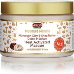 African Pride Moisture Miracle Moroccan Red Clay & Shea Butter Detox & Soften Heat Activated Masque 340gr