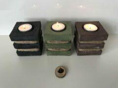 El Beton Vuur & Natuur Twisted 3 stuks - kaarsenhouder - wachinelichthouder - kaarsen - beton - touw - sfeerlicht - kaarsen - wachinelichtjes - groen - antraciet - bruin - handmade - kleurpigment