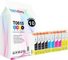 Inktdag huismerk Epson T0615 inktcartridge multipack van 10 stukken compatible cartridges (4 Epson T0611 inktcartridge zwart, 2 Epson T0612 cyaan, 2 Epson T0613 magenta, 2 Epson T0614 geel)