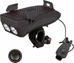 Zwarte FIEZIO Fietsverlichting USB Oplaadbaar LED Fietslamp met telefoonhouder en bel - 3 Lichtstanden – Waterdicht