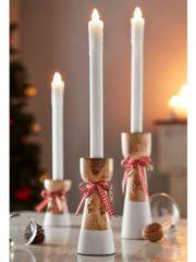 3er Set Kerzenhalter natur/weiss