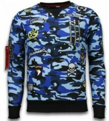 Local Fanatic Exclusief Camo Embroidery - Sweater Patches - Blauw Sweaters / Crewnecks Heren Sweater Maat XL