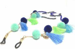 Turquoise Fashtival.com Fashtival| Brillenkoord Fox | Zonnebrilkoord gekleurde bolletjes | Metaal | Zonnebril ketting