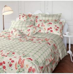 Laura Ashley Zusatzkissenbezug Fernshaw Poppy Red Satin Laura Ashley rot-grün-wollweiß